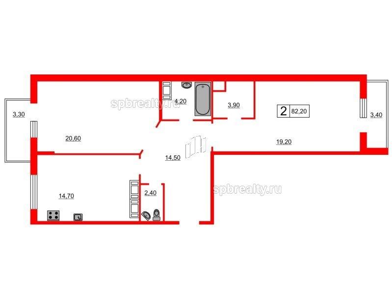 Планировка Двухкомнатная квартира площадью 82.2 кв.м в ЖК «Кристалл Полюстрово»