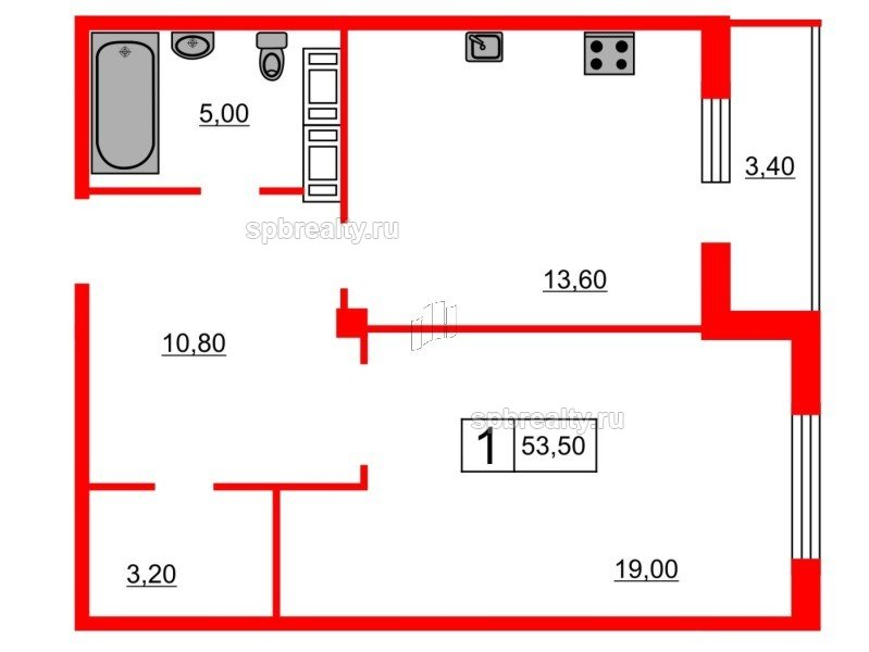 Планировка Однокомнатная квартира площадью 53.3 кв.м в ЖК «Кристалл Полюстрово»