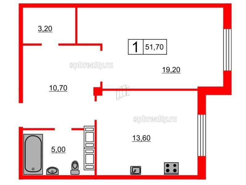 Планировка Однокомнатная квартира площадью 51.7 кв.м в ЖК «Кристалл Полюстрово»