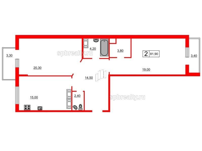 Планировка Двухкомнатная квартира площадью 81.9 кв.м в ЖК «Кристалл Полюстрово»
