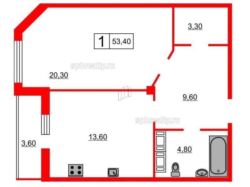 Планировка Однокомнатная квартира площадью 53.4 кв.м в ЖК «Кристалл Полюстрово»