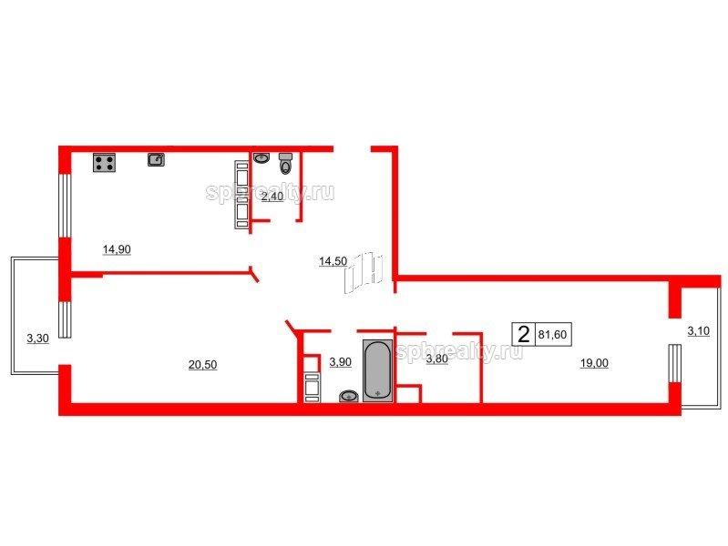 Планировка Двухкомнатная квартира площадью 81.6 кв.м в ЖК «Кристалл Полюстрово»