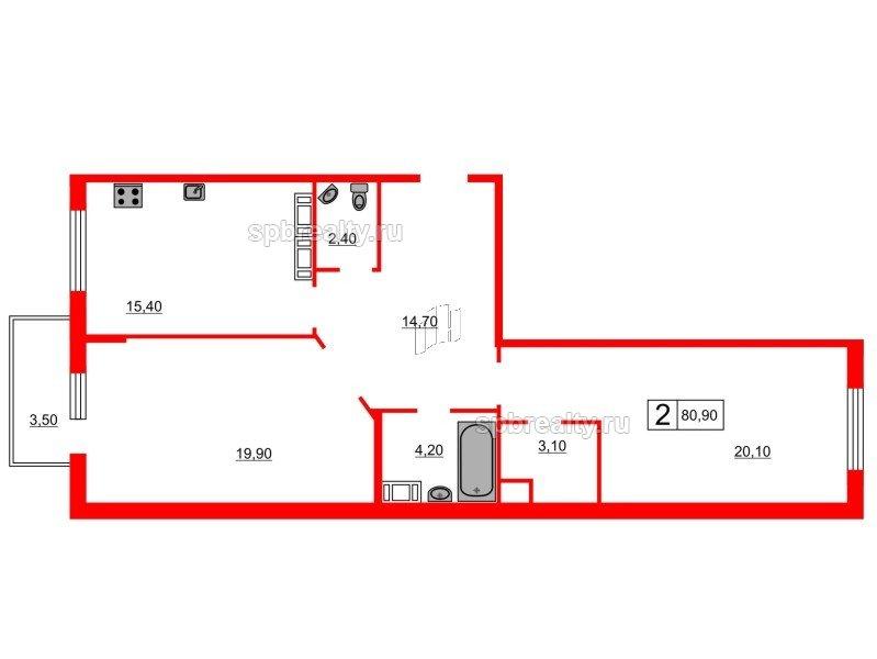 Планировка Двухкомнатная квартира площадью 80.9 кв.м в ЖК «Кристалл Полюстрово»