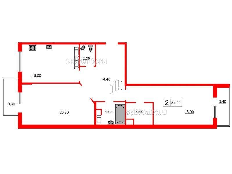 Планировка Двухкомнатная квартира площадью 81.2 кв.м в ЖК «Кристалл Полюстрово»